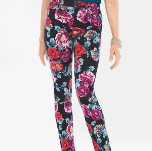 Chicos sateen rose print jeggings